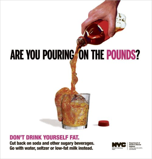 One of the ads placed in New York Times in an effort to educate people about how soda can affect weight gain.